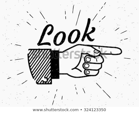 Bakmak burada işadamı işaret kâğıt Stok fotoğraf © ShawnHempel