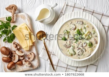 Champignons witte doek geheel basilicum bladeren Stockfoto © elly_l