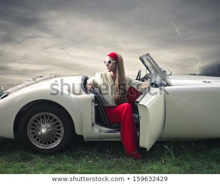 Eski araba kız vektör amerikan araba Retro Stok fotoğraf © pavelmidi