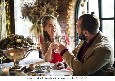 casal · garçom · comida · sorrir · vinho · trabalhar - foto stock © photography33