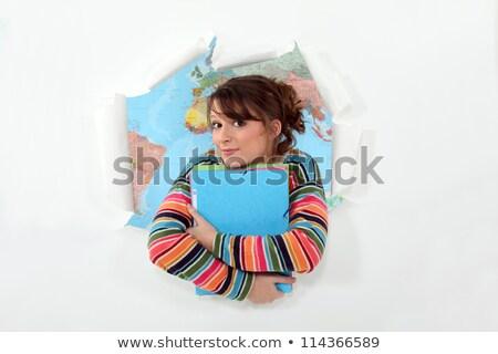 Lány mappák atlasz földgömb térkép diák Stock fotó © photography33