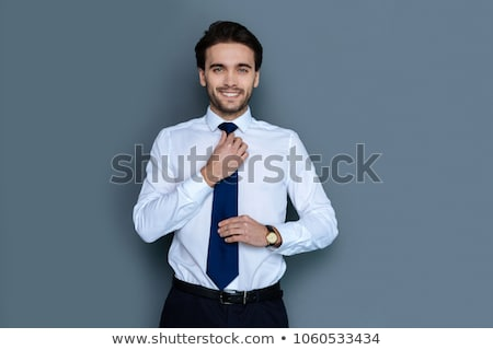 Stock photo:  business man fixing his tie