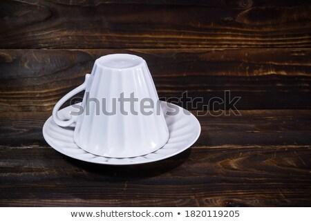 mavi · seramik · fincan · fincan · tabağı · yalıtılmış · beyaz - stok fotoğraf © ruzanna