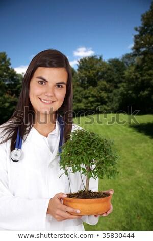 бонсай дерево женщину девушки трава природы Сток-фото © photography33