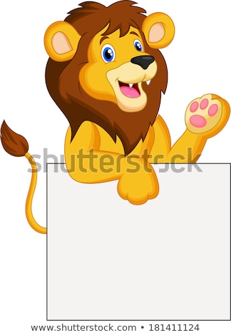 Lion cartoon with blank sign Stock photo © dagadu