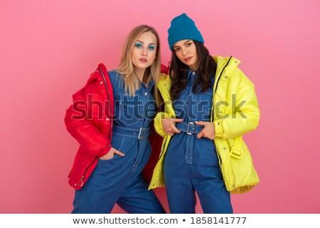 csinos · nő · citromsárga · kötött · kabát · fiatal · izolált - stock fotó © acidgrey