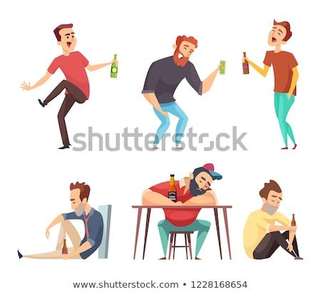 dronken · triest · man · drinken · wijn · trottoir - stockfoto © smithore