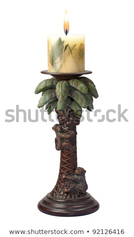Stok fotoğraf: Palm Tree Candlestick Holder Isolated