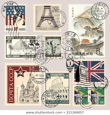 öreg légiposta postabélyeg USA iroda világ Stock fotó © samsem
