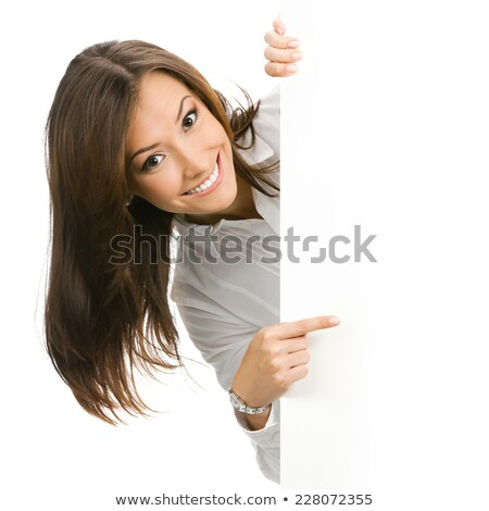 happy woman holding a blank placard against a white background stock photo © wavebreak_media