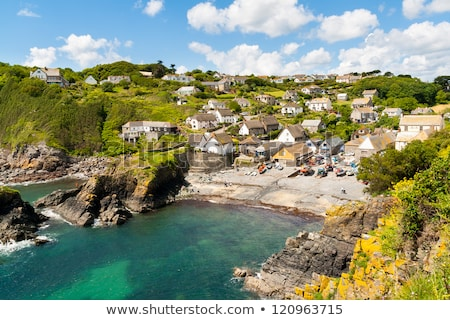 Pêche village cornwall printemps soleil faible Photo stock © mosnell