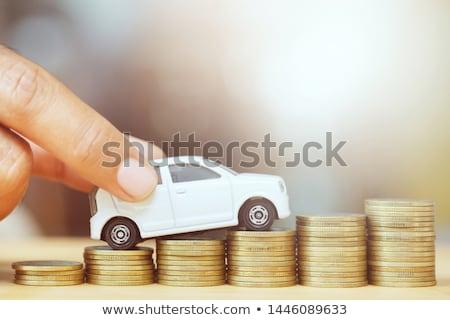 Stockfoto: Auto · munten · Rood · business · verzekering