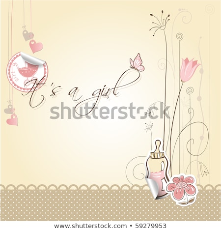 vintage baby girl arrival announcement card stock photo © mcherevan
