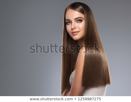 Foto stock: Bastante · morena · longo · cabelos · lisos · senhora · moda