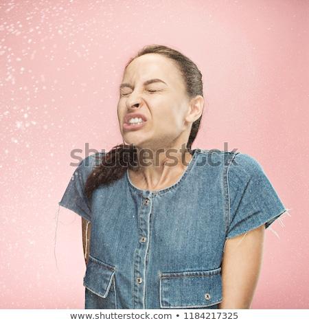 Funny kobieta karykatura ludzi portret fisheye Zdjęcia stock © Kurhan
