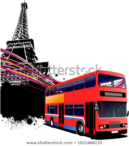Stock photo: Red Double Bus With Paris Image Background Vector Illustration