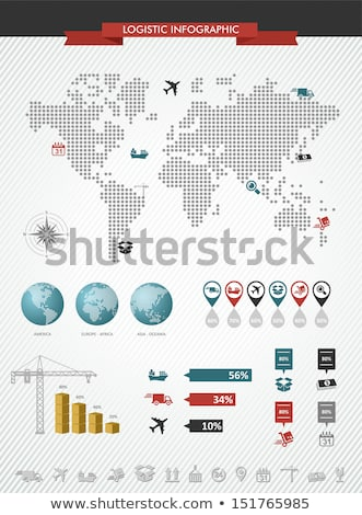 Shipping logistics world map icons splash illustration. Stock photo © cienpies