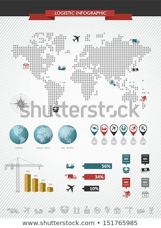 shipping logistics world map icons splash illustration stock photo © cienpies