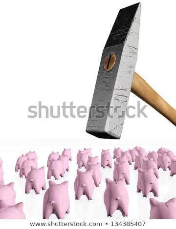 bancos · martelo · grupo · rosa · atrás - foto stock © TaiChesco