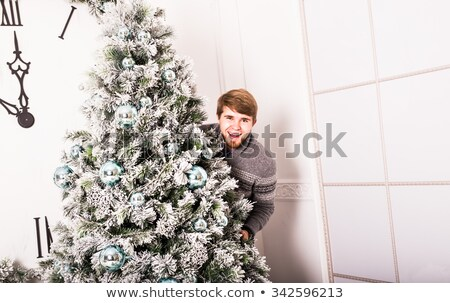 サンタクロース 後ろ クリスマスツリー 男性 冬 袋 ストックフォト © Alegria111