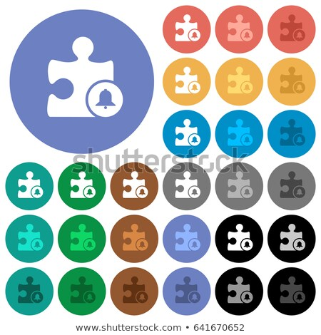 Ringing White Bell Icon on Multicolor Puzzle. Stock photo © tashatuvango