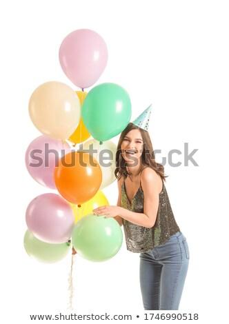 Woman celebrating birthday with balloon Stock photo © Kzenon