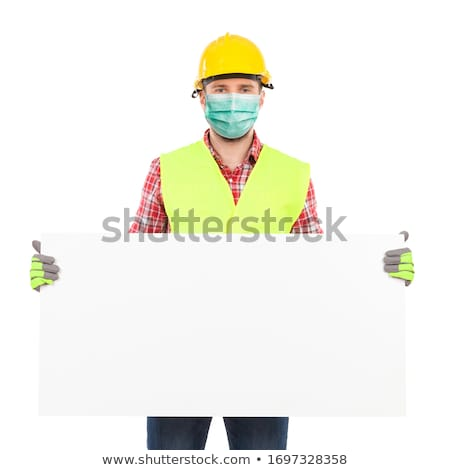 construction workers holding blank white board stock photo © kirill_m