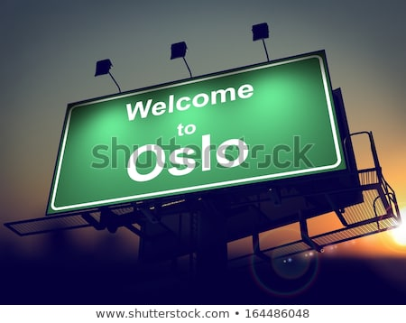 Quadro de avisos bem-vindo Oslo nascer do sol verde Foto stock © tashatuvango