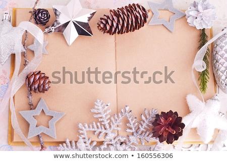 Abrir velho livro papel pardo estrelas natal projeto Foto stock © Elmiko