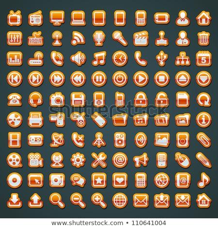 ストックフォト: メディア · アイコン · オレンジ · デザイン · マイク · にログイン