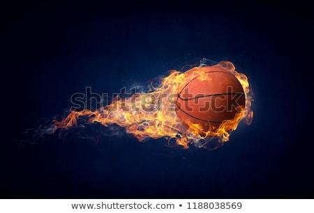 Vlammende basketbal illustratie brand sport oranje Stockfoto © Krisdog