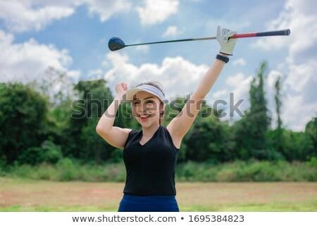 Menina feliz jogador de golfe retrato mulher golfe campo Foto stock © goce
