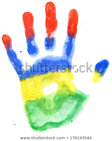 Handprint of a Mauritius flag on a white Stock photo © vlad_star