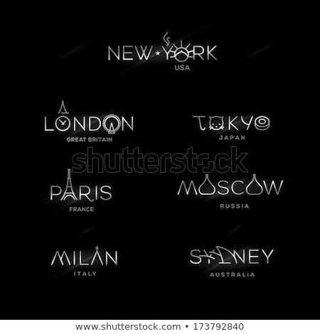 Monde villes étiquettes New York milan Paris Photo stock © ikopylov