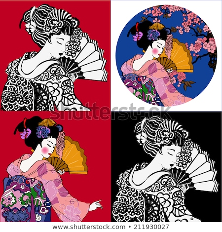Hermosa geisha ventilador primavera jóvenes femenino Foto stock © Nejron