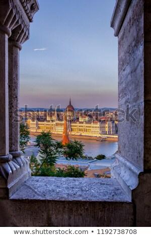 Windows refleksji bastion wygaśnięcia zamek Budapeszt Zdjęcia stock © pixachi