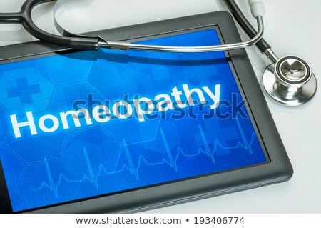 Tablet tekst homeopathie display computer arts Stockfoto © Zerbor
