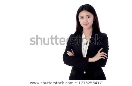 zakenvrouw · witte · portret · gelukkig · leuk · bal - stockfoto © elnur