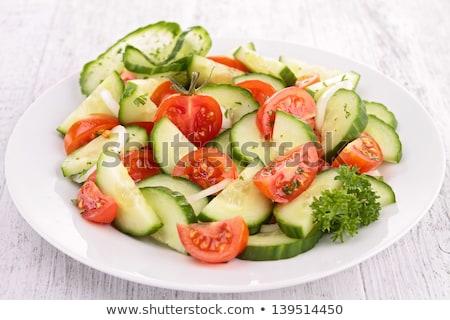 paradicsom · uborka · saláta · friss · étel · étel - stock fotó © m-studio