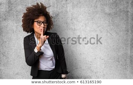 genç · kadın · ayakta · parmak · dudaklar · kış · iletişim - stok fotoğraf © bmonteny