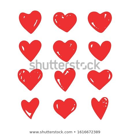 12 conjunto vermelho corações ícone vetor Foto stock © Kheat