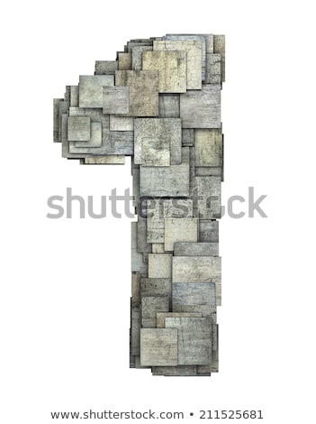 3d gray tile one 1 number fragmented on white  Stock photo © Melvin07