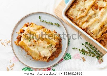 Pâtes plat sauce bleu plaque Photo stock © phila54