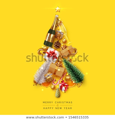 merry christmas winter card with clock vector illustration stock photo © carodi