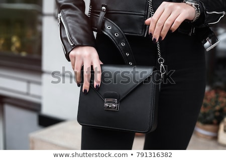 черный кожа сумку изолированный белый дизайна Сток-фото © gemenacom