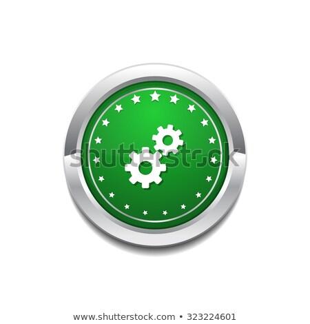 Beállítások körkörös vektor ikon gomb internet Stock fotó © rizwanali3d