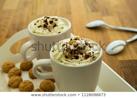 coffee in a white cup with amarettini and spoon Stock photo © Rob_Stark