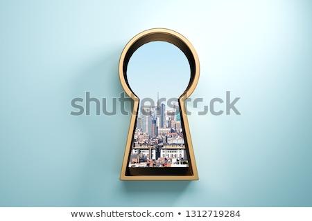 Anahtar deliği kapı fotoğraf el ev Stok fotoğraf © AndreyPopov