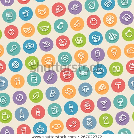 color tilted seamless pattern with food icons stock photo © voysla