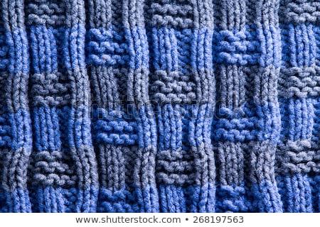 textúra · kézzel · készített · horgolás · munka · kék · szürke - stock fotó © ozgur